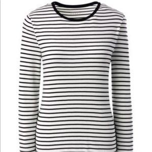 Lands End Black and White Striped Long Sleeve Tee